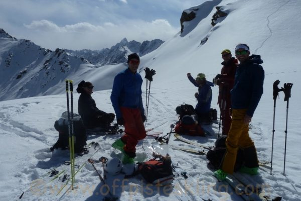 Snack stop below the summit of Alpay Tur.