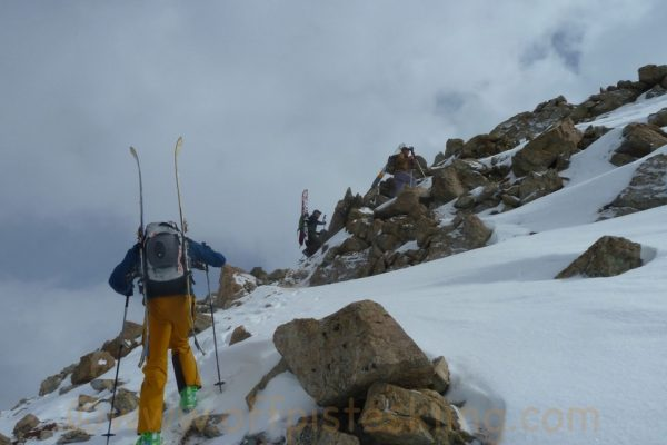 Booting up the summit ridge.