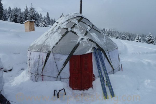 Fresh snow at the yurts.